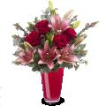 Romantyczna para: róże ililie