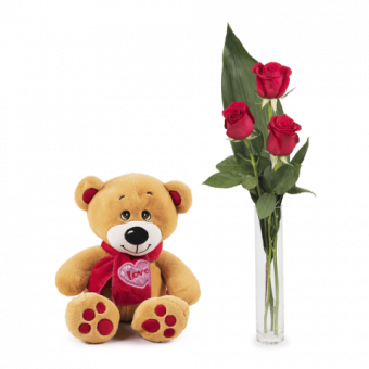 Douce caresse : 3 Roses et Peluche
