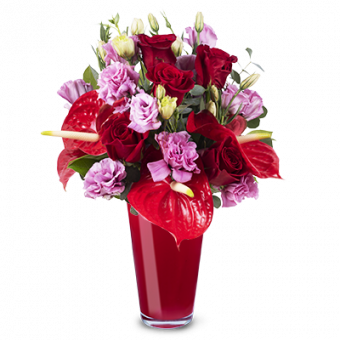 Amour véritable: Roses et Lisianthus