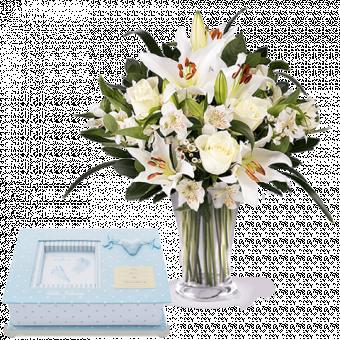 Blue fingerprints and lilies