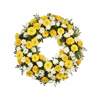 Желто-белый ритуальный венок