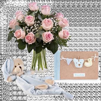 Dormilón azul y ramo de rosas