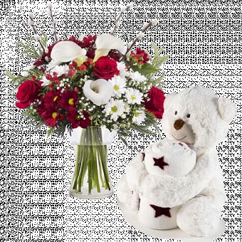 Bouquet Harmonie et ourson avec sa couette