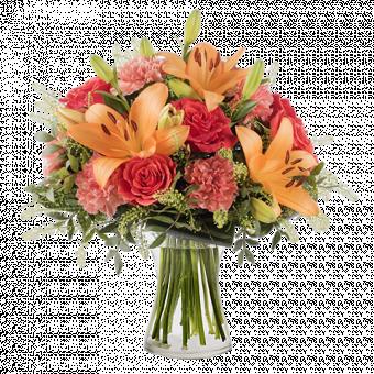 Calore Familiare: Gigli e Rose Arancioni