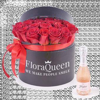 Burbujeante Pasión: Caja Rosas Rojas y Rosè