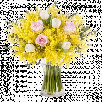Forte e Coraggiosa: Tulipani e Rose con Mimosa