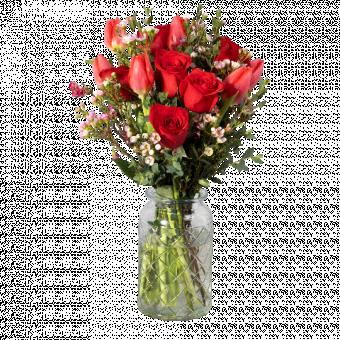 Sweet Caramel: rosas rojas y tulipanes rojos