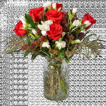 Corazón Blanco: rosas rojas y mini claveles