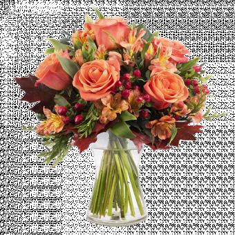 Calabaza: Rosas y Alstroemerias