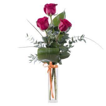 Sant Jordi clásico: Tres rosas rojas y espiga