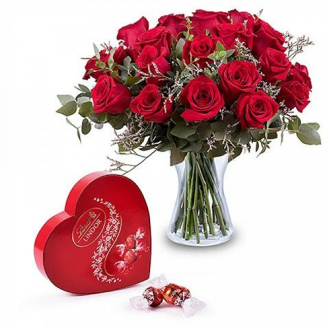 24 red roses and chocolates