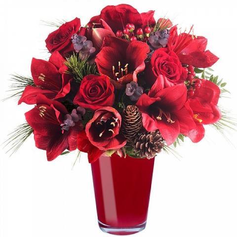 Bouquet portafortuna: amarallys e rose rosse