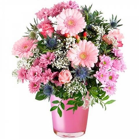 Różowe Zaklęcie: róże i gerbery