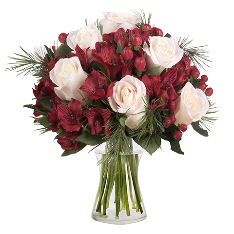 Happy Day: White Roses and Alstroemerias