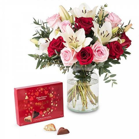 lilies and roses with chocolates