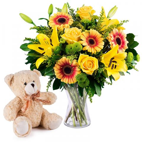 Yellow Bouquet: Roses, Lilies with Free Teddy