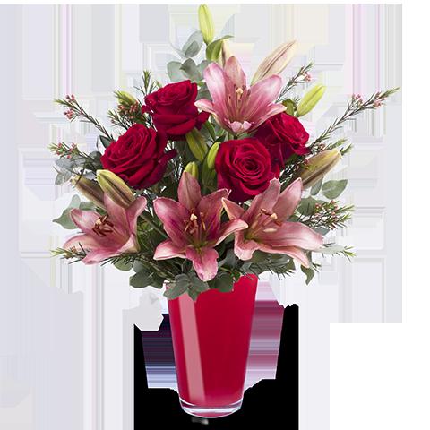 Romantik pur: Rosen und Lilien