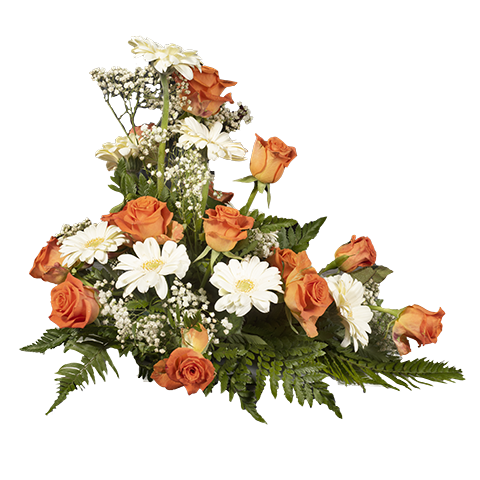 Orange Roses & White Gerberas