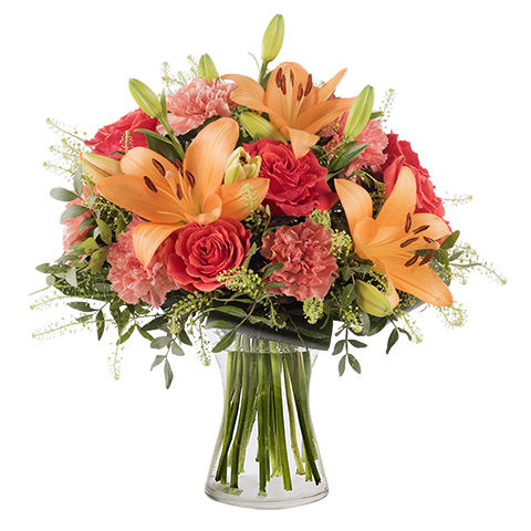Tahitian Dream: Orange Lilies and Roses