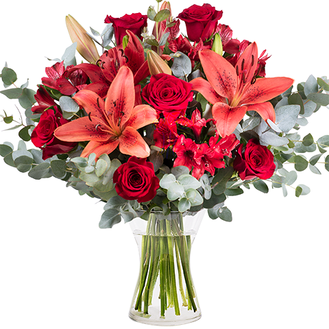 Velvet: Red Lilies And Roses