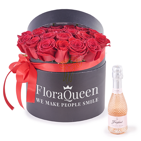 Bubbling Passion: Box of Red Roses and Rosé