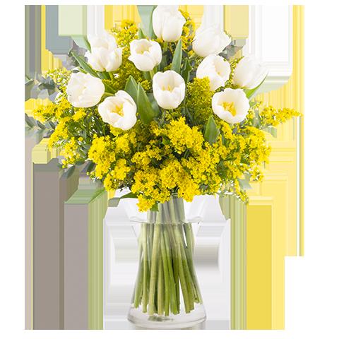 Verbundenheit: Weiße Tulpen und Goldrute