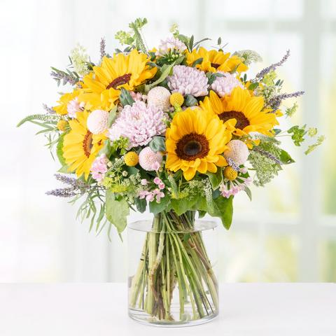 Gentle Buzz: 10 Sunflowers and Pink Dahlias