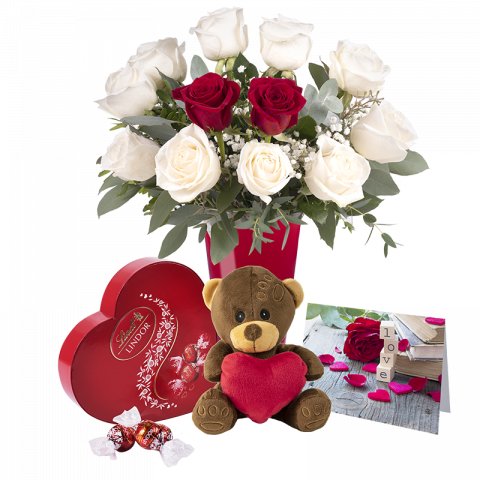 Endless Love: Pack of White Roses and Teddy Bear