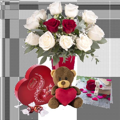 Amour Sans Limite : Lot de Roses Blanches et Ours en peluche