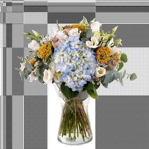 Elegancia Azul: Hortensia Azul y Lisianthus Blancos