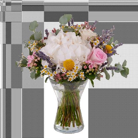 Bianco Cotone: Ortensie Bianche, Rose e Craspedie