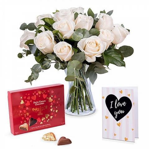 12 Białych Róż, Kartka i Czekoladki