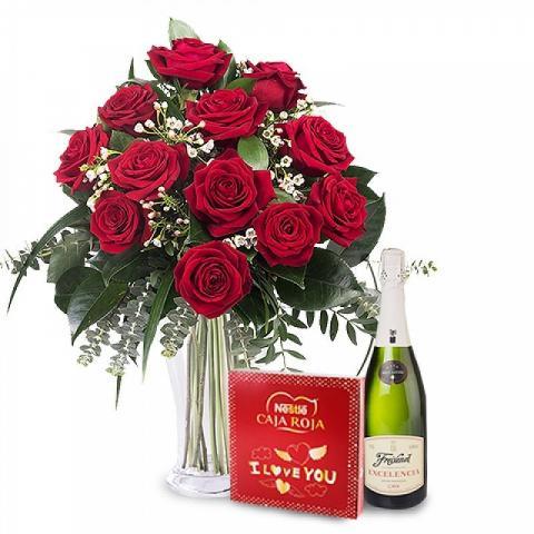 Alles Gute: 12 Rosen, Pralinen, Sekt