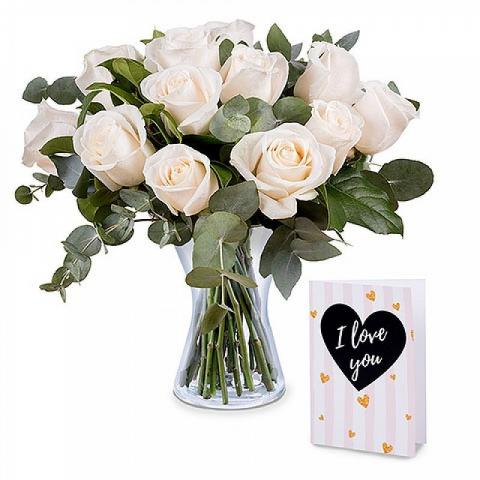 12 white roses with card