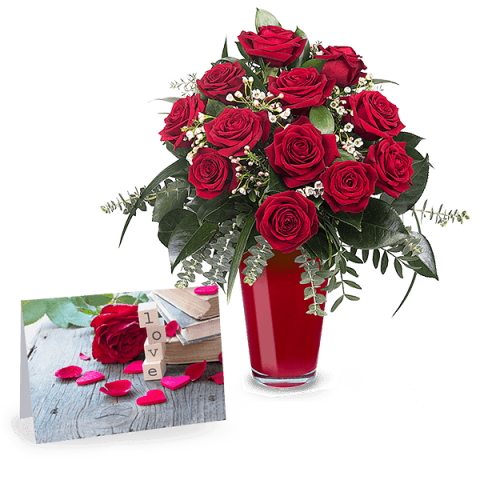 Passionate Love: 12 Red Roses & Card