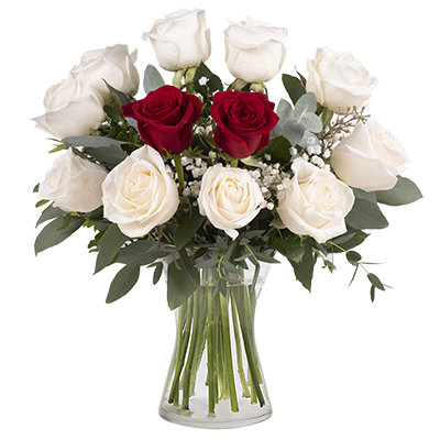 Diamonds and Hearts: White and Red Roses