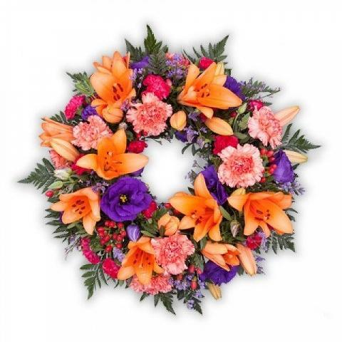 Deep Affection Wreath: Lilies and Carnations