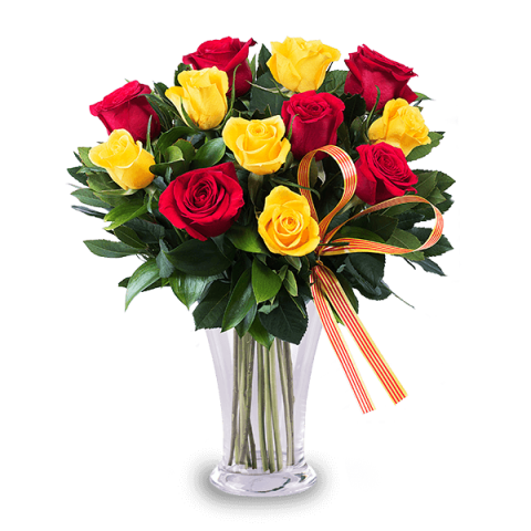 Pretty Lady: 5 red roses and 5 yellow roses