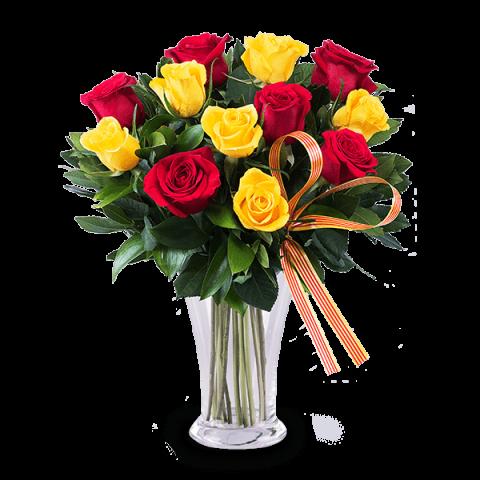 Klassische Eleganz: 5 rote & 5 gelbe Rosen