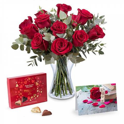 12 roses, card and chocolates